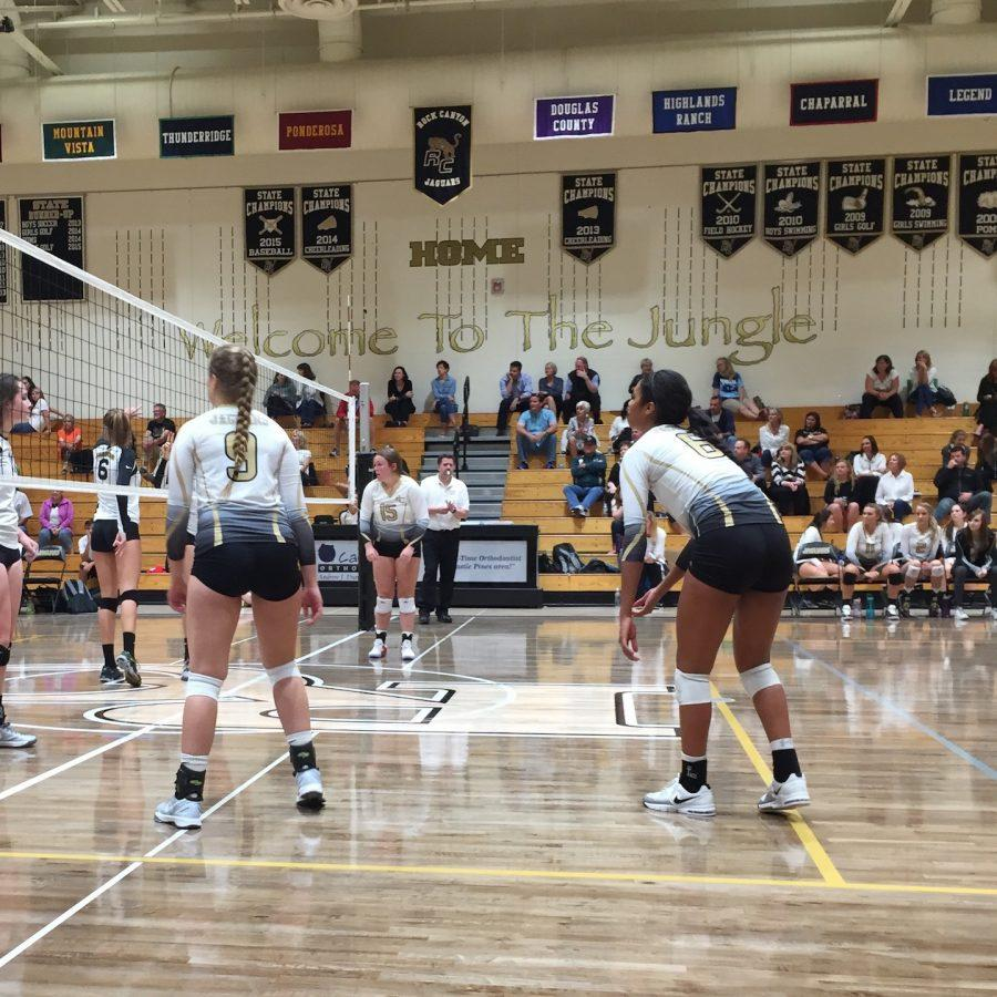 Laryssa+Myers+%2719+and+Keeley+Davis+%2718+prepare+for+the+opposing+team+to+serve+the+ball.