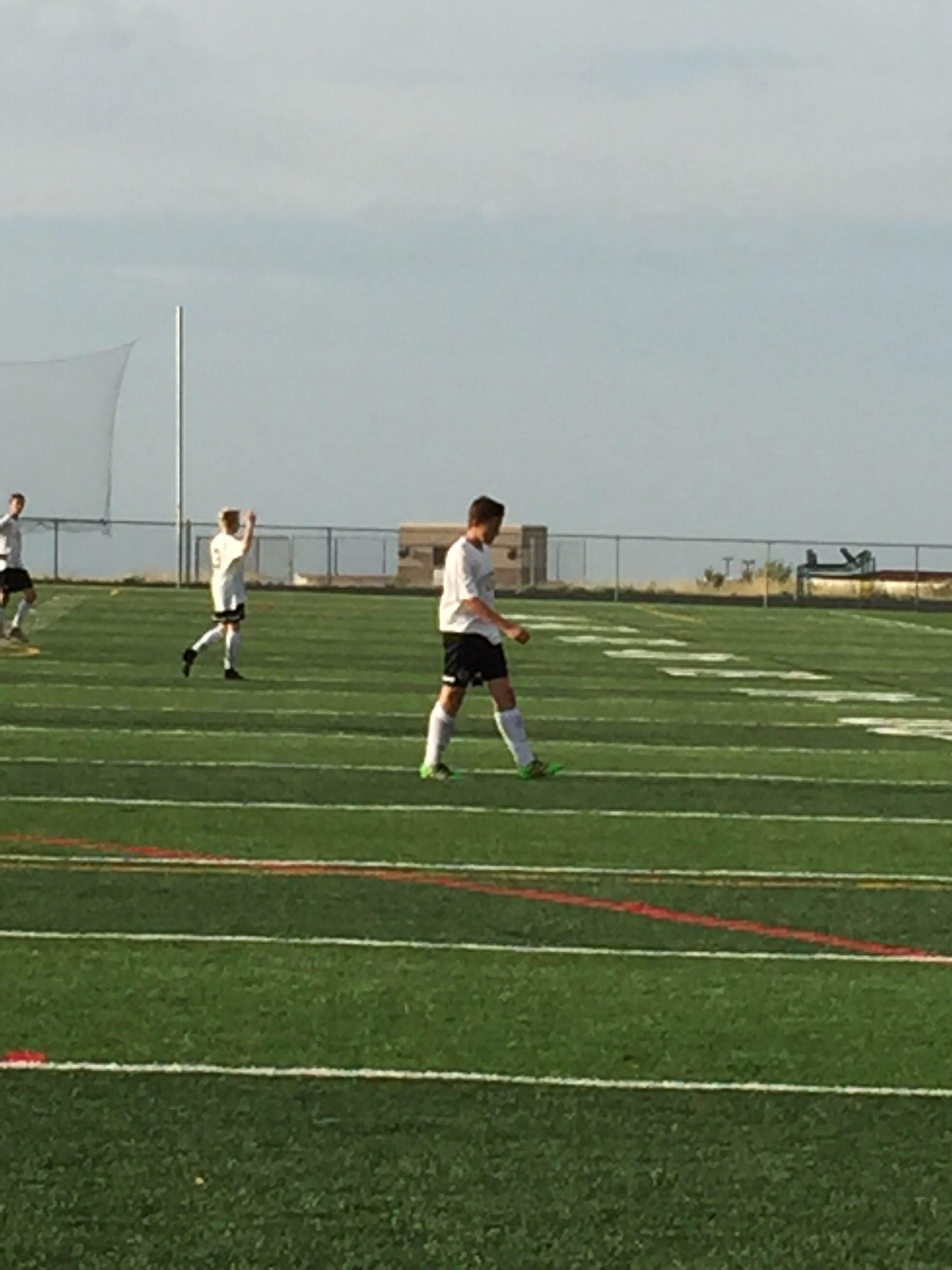 Dani Haddad '20 walks back after Cherokee Trail scores its second goal on Thursday