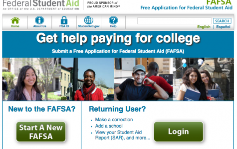 The FAFSA website where seniors can apply for financial aid to be applied to their college tuition.
