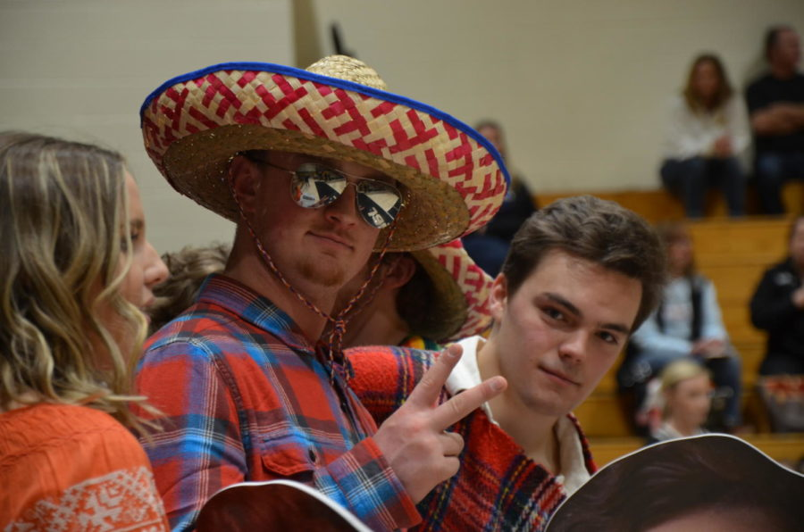 Seniors+Mitch+Mullen+and+Dalton+McKeel+show+off+their+fiesta-themed+gear+in+honor+of+senior+night+during+the+boys+varsity+basketball+game+at+home+against+Castle+View+High+School%2C+Wednesday%2C+Feb.+14.++