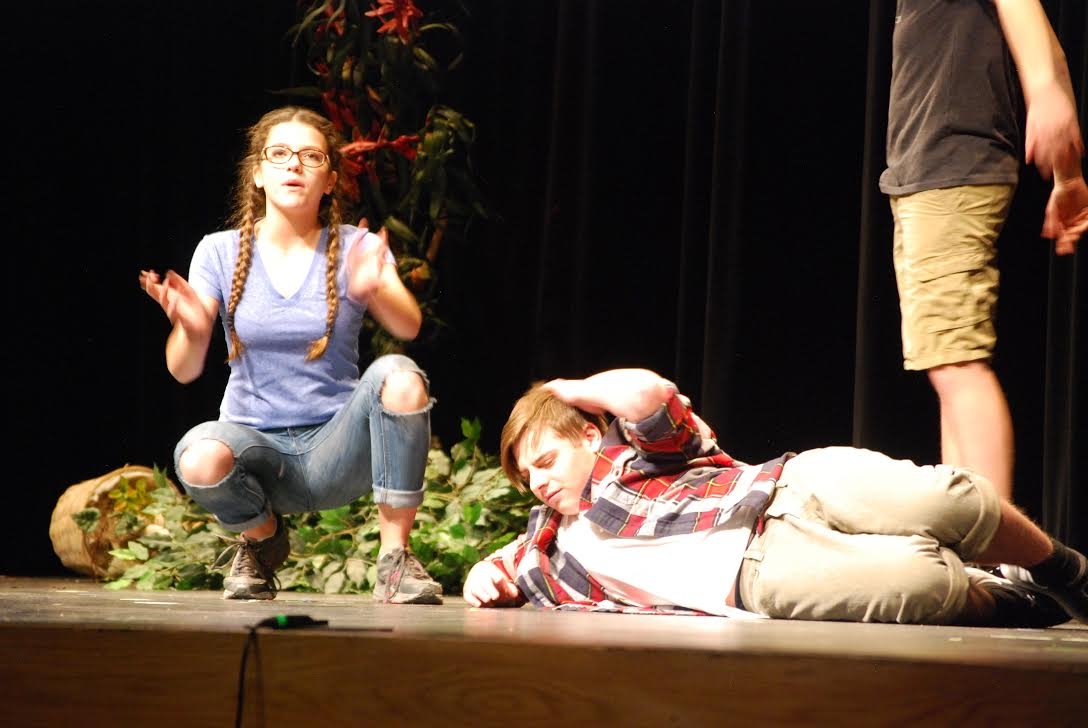 Joshua Friar '20 poses to become a zombie during the Winter One Acts, Thurs., Feb. 1, in the auditorium.  They plays were performed by underclassmen and directed by upperclassmen to be performed in front of an audience.