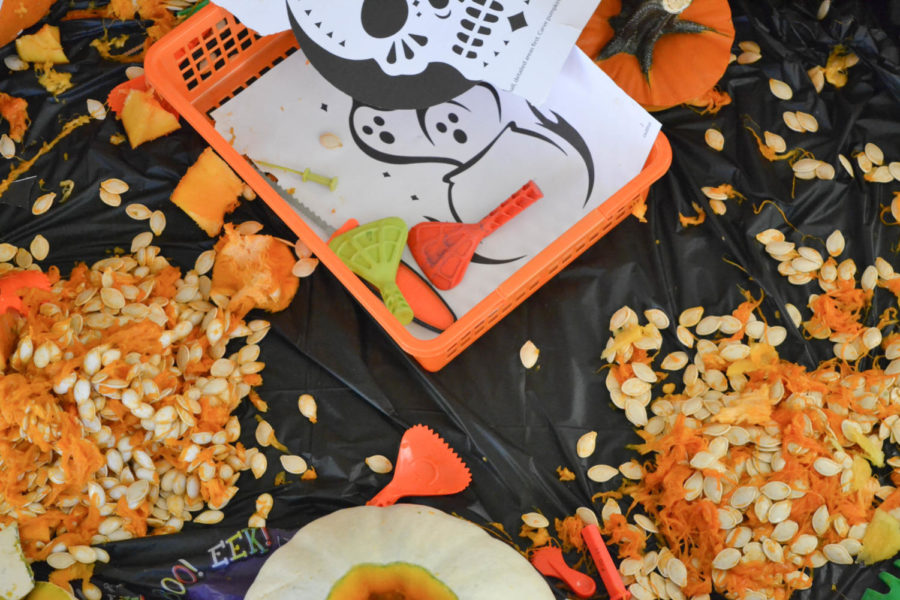 The aftermath of students' pumpkin carving at a Halloween party, Oct. 29.