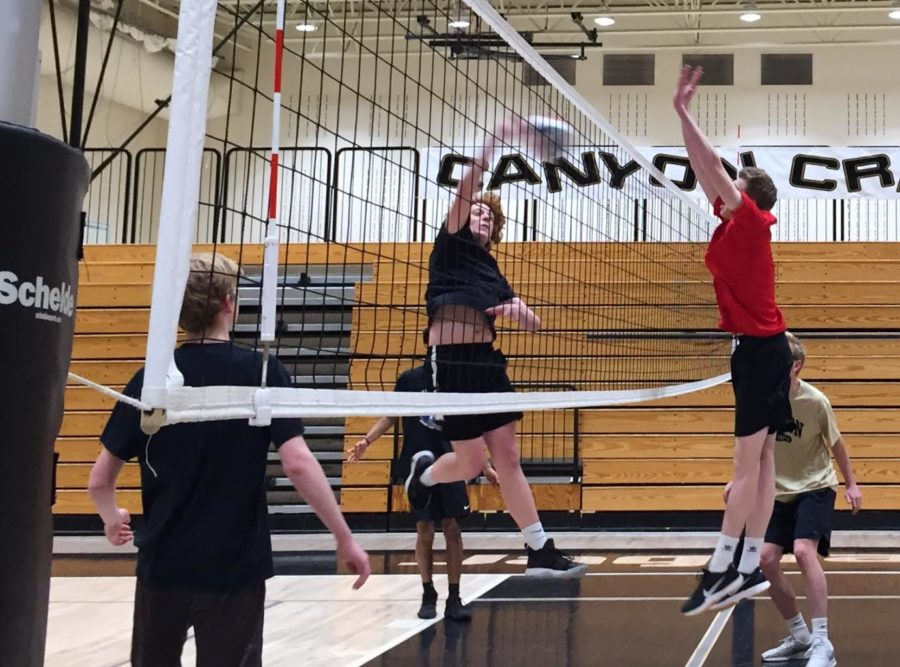 Ben Gardner '20 practices blocking for a one-hand tip Feb. 20, 2019. Gardner had done Men's Volleyball for all three of the trials years.