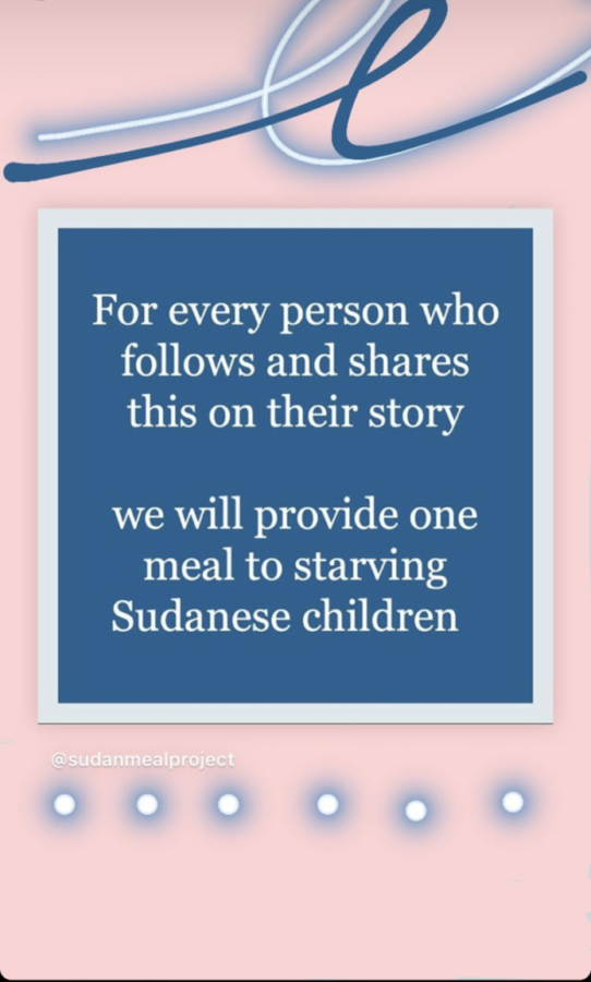 Students+decorated+their+Instagram+stories+with+these+posts%2C+believing+that+they+were+donating+a+meal+to+a+Sudanese+child+in+need.
