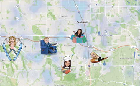 A snap map showing five students