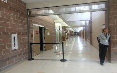 Security Guard Melinda Schulz guards the empty halls