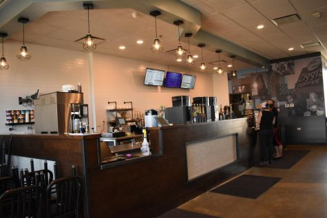 The interior and coffee bar of Ziggi's Coffee while it's under the