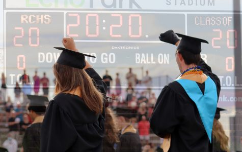 """Graduates raise their fists during the national anthem in support of the Black Lives Matter movement during graduation at Echo Park June 27. Dozens of students raised their fists during the graduation ceremony in solidarity to protest police brutality. """"As the graduating Class of 2020 at Rock Canyon High School, we say enough. We say enough to silence, discomfort, and ignorance of racism,"""" the Black Lives Matter Class of 2020 letter of intention said."""