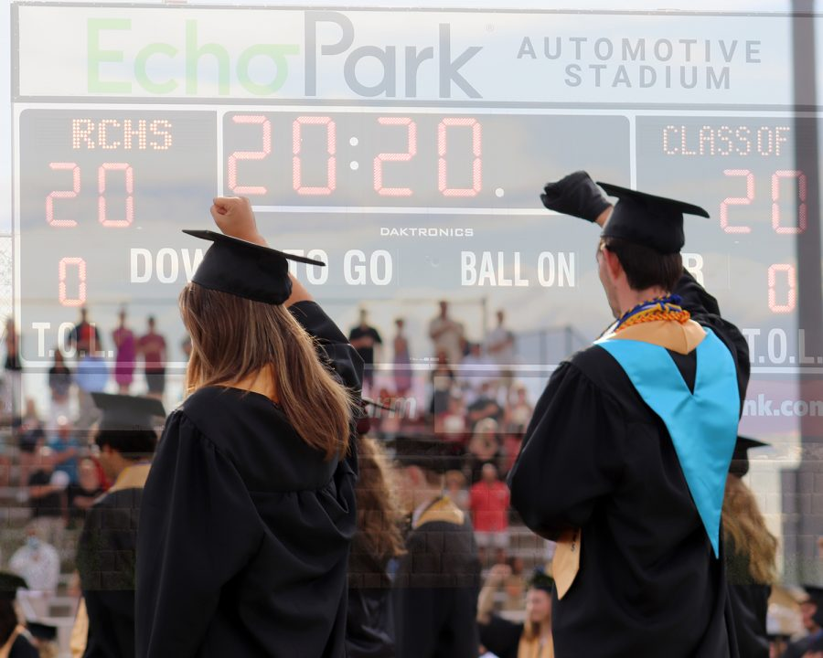"Graduates raise their fists during the national anthem in support of the Black Lives Matter movement during graduation at Echo Park June 27. Dozens of students raised their fists during the graduation ceremony in solidarity to protest police brutality. ""As the graduating Class of 2020 at Rock Canyon High School, we say enough. We say enough to silence, discomfort, and ignorance of racism,"" the Black Lives Matter Class of 2020 letter of intention said."