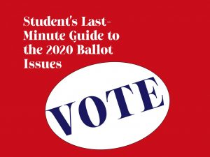 Graphic for student voter information guide.