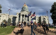 Supporters stand in front of the Capitol hoisting flags.