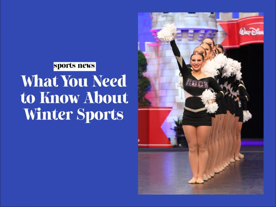 Winter sports story graphic, featuring the image of Poms at the Semifinals on Jan 2. 2020.