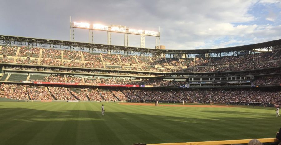 A photo of the Rockies' home, Coors Field, during the 2017 MLB season.