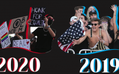 """(Left Image) Jacob Aragon '21 protests against President Trump outside the post office Sept. 18. 2020. After a pro-Trump rally the day before, Aragon and Amanda Brauchler '21 were inspired to launch a counter-protest. """"Throughout this entire year, there's been a lot of people giving out their voice when it comes to issues they're passionate about and the other day we saw people who support our current president, so we got their voice, so we wanted to gather some people and speak in opposition to that and exercise our rights,"""