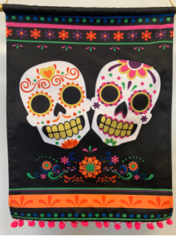 A Dia de los Muertos decoration in Spanish teacher Christina Geis's classroom.