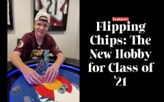 Ty Hall '21 poses for a picture after winning a large pot with a flush in order to become the chip leader.