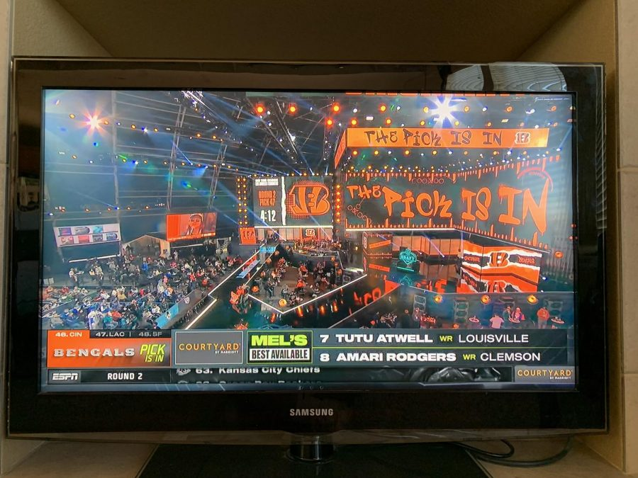 Rodger Goodell coming out on stage in round two of the draft April 30.