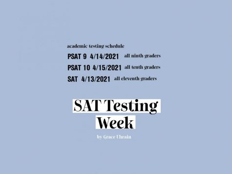 SAT Testing week web header, including a schedule for the week.