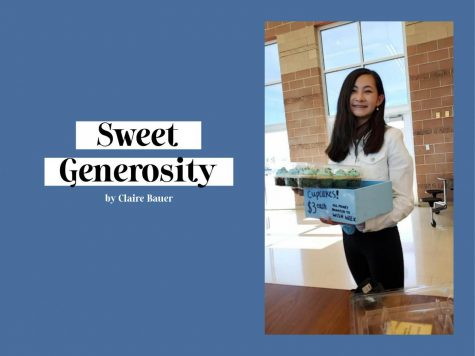 "Marabelle Cecil '24 poses with Wish Week cupcakes; web header for ""Sweet Generosity"" story."