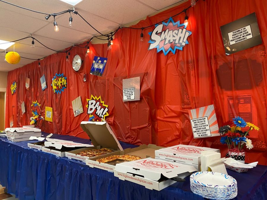 The Staff lounge decorated for a super hero pizza party 19 April 2021.