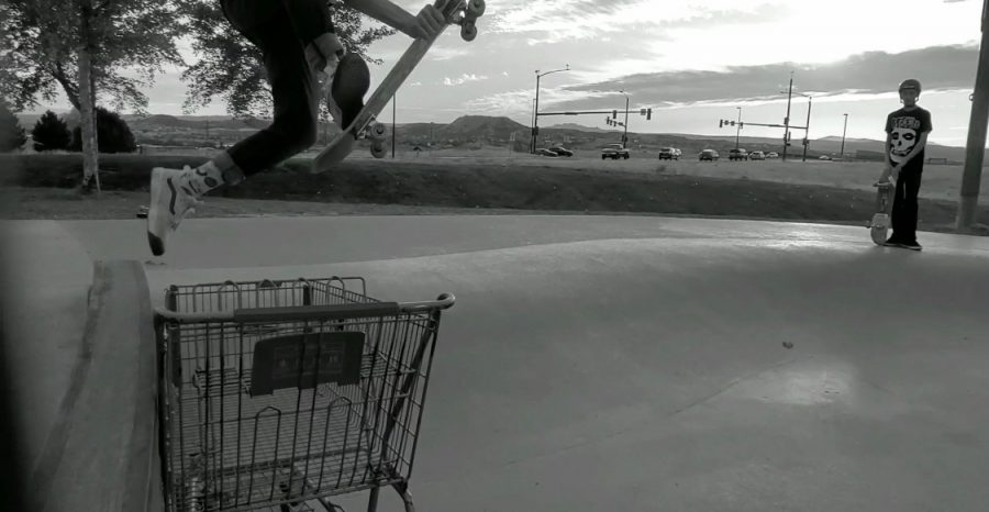 Kayden Ozdemir 24 jumping over a shopping cart at a local skate park. I skate just for fun but my favorite trick to do is probably the varial kickflip, Ozdemir said.