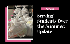 Feature image for Summer Food Update, displaying meal bags ready for students and families to pick them up. PC: June Everett