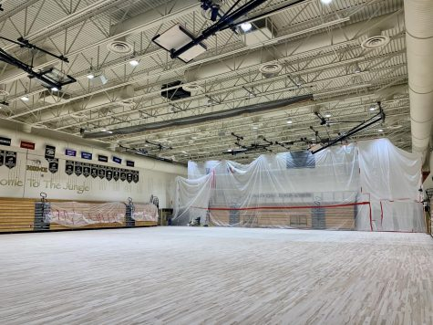The main gym remains roped off from the public as final touches are finished Sept. 23. After being impacted by weather over the 2021 summer break, months of work have been put into restoring it. Its affected quite a bit here, but were looking forward to getting it back, Athletics Director Thomas Brieske said.